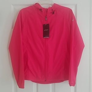 New pink womens asics jacket size small